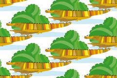 Crocodile Family in a Green Bushes - stock illustration