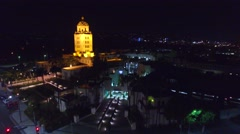 beverly hills night drone fly - stock footage