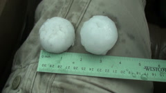 Hail Big enough to Dent Cars and Break  Windshields Stock Footage