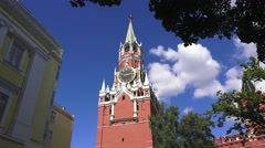 The Saviour's Tower (in 4k) from inside the walls of the Kremlin, Moscow, Russia Stock Footage