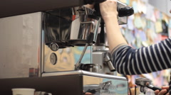 Coffee machine and young woman's Barista Stock Footage
