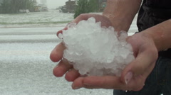 Handful of Hail Stock Footage