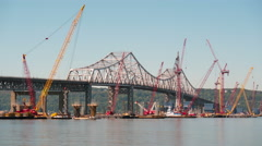 4K New Tappan Zee Bridge Timelapse Medium Shot Zooming Stock Footage