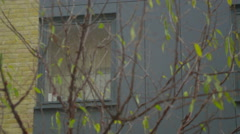 4K Exterior view, panning across windows of modern apartment block - stock footage