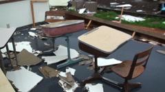 Tornado Destroys School Stock Footage