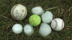 Storm Chasers Catch Tennis Ball and Baseball Hail Stock Footage
