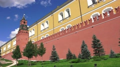 The distinctive red walls (in 4k) of the Kremlin, Moscow, Russia. Stock Footage