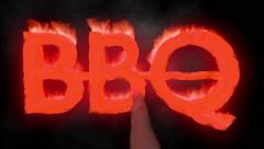 BBQ barbecue hot text brand branding iron flaming heat flames overlay 4K - stock footage