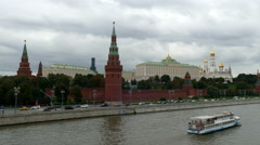 Moscow Kremlin (view from the bridge) in September 2015 Stock Footage