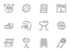Thin line style physical culture icons Stock Illustration