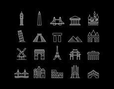 Stock Illustration of International landmark simple line art icon set