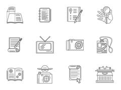 Thin line style journalism icons - stock illustration