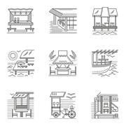 Thin line style cafe and bungalows icons - stock illustration