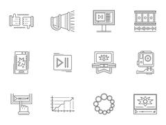 Thin line style video blogging icons Stock Illustration