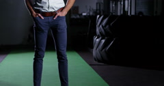 Portrait of an attractive gym owner standing  in his gym. Shot on RED Epic. Stock Footage