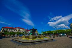 Five Continents water fountain in Jarntorget Square, Gothenburg, Sweden Stock Photos