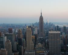 Aerial night view of Manhattan skyline in New York Kuvituskuvat