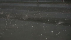 Large Hails Slams into Parking Lot during Thunderstorm Stock Footage