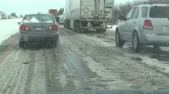 Bumpy, Icy Highway - stock footage