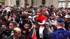 Children of immigrants and refugees at the railway station in Budapest. 4K. Stock Footage