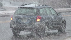 Car During Snowstorm Stock Footage