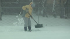 Shoveling with Fido Stock Footage