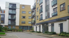 4K Exterior view of modern apartment blocks in a London Suburb Stock Footage