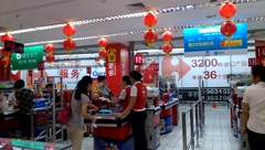 Shenzhen, China: Carrefour supermarket Stock Footage