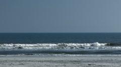 Slowmo shot of sea waves on Folly Beach, SC Stock Footage
