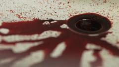 Blood Pouring into Sink & Plug Hole HD Stock Footage