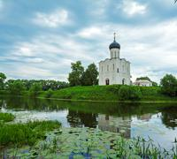 Church of the Intercession on the Nerl (1165), UNESCO heritage site - stock photo
