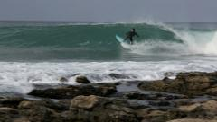 Hawaiian professional surfer Keanu Asing riding a wave Stock Footage