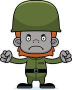 Cartoon Angry Soldier Orangutan - stock illustration