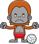 Cartoon Angry Beach Volleyball Player Orangutan Stock Illustration