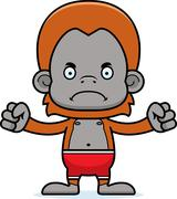 Cartoon Angry Orangutan Swimsuit Stock Illustration