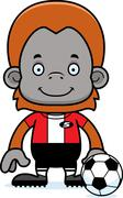 Cartoon Smiling Soccer Player Orangutan - stock illustration