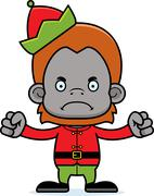 Cartoon Angry Xmas Elf Orangutan Stock Illustration