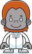 Cartoon Smiling Doctor Orangutan Stock Illustration