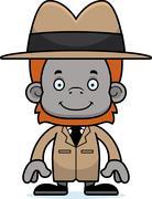 Cartoon Smiling Detective Orangutan - stock illustration