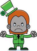 Cartoon Angry Irish Orangutan - stock illustration