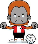 Cartoon Angry Volleyball Player Orangutan Stock Illustration