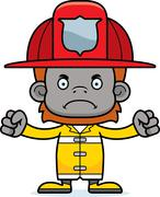 Cartoon Angry Firefighter Orangutan Stock Illustration