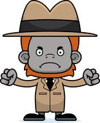 Cartoon Angry Detective Orangutan - stock illustration