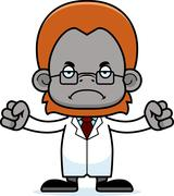 Cartoon Angry Scientist Orangutan - stock illustration