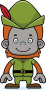Cartoon Smiling Robin Hood Orangutan - stock illustration