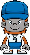 Cartoon Smiling Coach Orangutan Stock Illustration