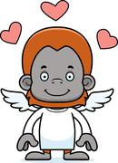 Cartoon Smiling Cupid Orangutan - stock illustration