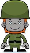 Cartoon Smiling Soldier Orangutan - stock illustration