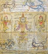 Astrological chart on Burmese calendar - stock photo