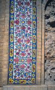 Floral mosaic detail, Madrese-e Khan - stock photo